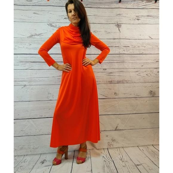 6bcc1200327b Vintage Dresses | 70s Orange Polyester Cowl Kneck Slinky Maxi Dress ...